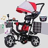 Carritos de bebé para niños Triciclos, triciclos, triciclos, tres etapas, ajustable, para jardín al aire libre rojo rosso
