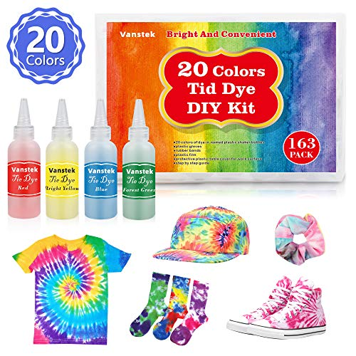 Vanstek Tie Dye DIY Kit, 20 Colors Tie Fabric Dye for Women, Kids, Men Gift, with Rubber Bands, Gloves, Plastic Film and Table Covers Add Water Only for Family Friends Groups Party Supplies