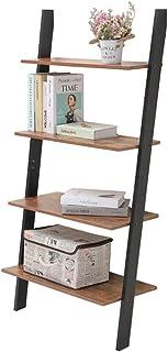 IWELL Ladder Shelf, 4-Tier Rustic Leaning Bookshelf, Wood Look Storage Rack, Against The Wall Shelves for Bathroom & Kitchen Bedroom, Office, Rustic Brown SJX001X-