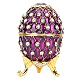 Caja de joyería de huevo de Pascua esmaltada Faberge,caja de baratija de...