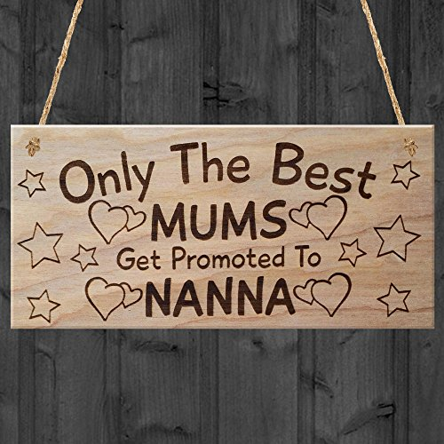 Red Ocean Only The Best Mums Get Promoted To Nanna Plaque Wooden Mothers...