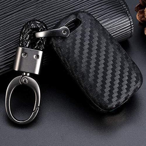 Royalfox(TM) Black Silicone Carbon Fiber Style flip keyless Remote Key Fob case Cover for Kia K5 K2 Sportage Rondo Soul Rio Optima/Magentis/Lotze Hyundai Elantra Verna i20 i30 i35 (Hyundai flip Key)