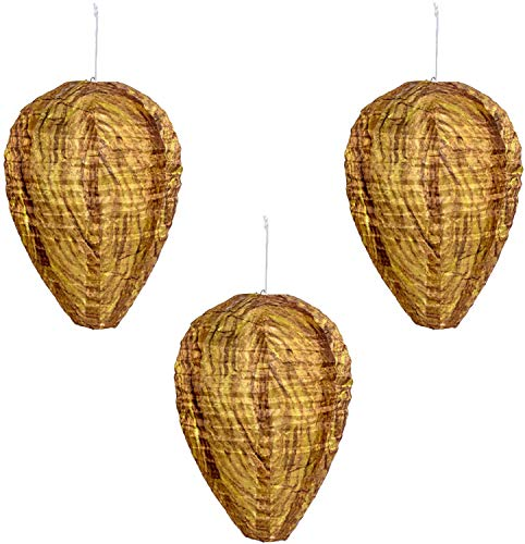 LSANG Wasp Nest Decoy - 3 Pack Non-Toxic Hanging Wasp Deterrent for Wasps - Natural Wasp Repellent - Upgraded Waterproof Material - Outdoor Eco Friendly