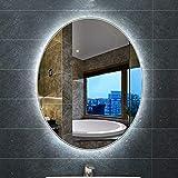 Bathroom mirror Miroir Salle De Bain Mural à LED pour,Miroir Ovale Moderne Frameless Illumination,Miroir Lumineux RéTro-éClairé, Miroir Anti-BuéE à Installation Verticale, 50 * 70cm
