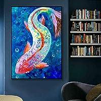 ジクレーキャンバス絵画魚のプールロータスポスター&プリント壁の写真リビングルーム現代の動物の写真家の装飾50x70cmフレームレス
