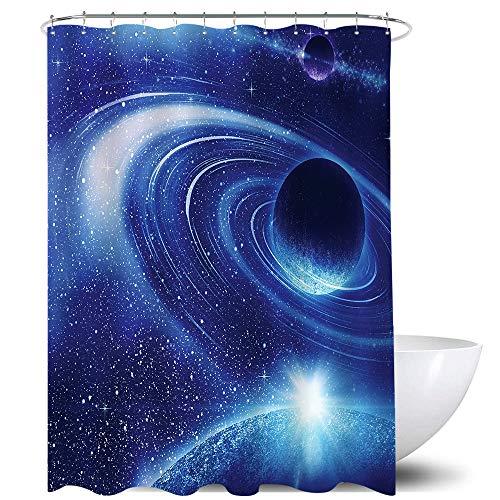 Homewelle Blue Galaxy Duschvorhang Night Universe Sternenhimmel Wasserdicht 152 x 183 cm Planet Weltraum Fancy 12 Pack Kunststoff Duschhaken Polyester Stoff Badezimmer Badewanne