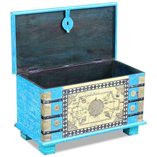 Festnight Abschließbar Aufbewahrungstruhe aus Mangoholz Dekorative Truhe Aufbewahrungsbox als Kaffeetisch Retro-Stil 80x40x45cm Blau - 2