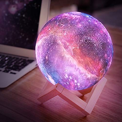 Balkwan Moon Lamp Kids Night Light Galaxy Lamp 5.9 inch 16 Colors LED 3D Star Moon Light with Wood Stand, Remote & Touch Control USB Rechargeable Gift for Baby Girls Boys Birthday Women (5.9-inch)
