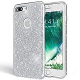 NALIA Purpurina Funda Compatible con iPhone 8 Plus, Carcasa Protectora Movil Silicona Ultra-Fina Glitter Gel Bumper, Lentejuela Cubierta Delgado Back-Cover Slim Smart-Phone Case, Color:Plata