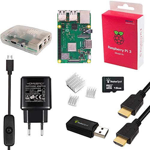 MakerSpot Raspberry Pi 3 Model B+ 1.4GHz, 8-in-1 Starter Kit Inkl. RPi3 Modell B+ (B Plus), 3A/5V EU Ladegerät/Netzteil, Micro USB Kabel mit EIN/AUS Schalter, Gehäuse, Kühlkörper, 16GB SD Karte