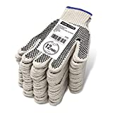EvridWear Cotton Polyester String Knit Shell Safety Protection Work Gloves for Painter Mechanic Industrial Warehouse Gardening Construction Men & Women 12 Pairs, With Two Side dots, S Size