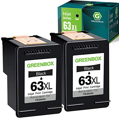 GREENBOX Remanufactured Ink Cartridge 63 Replacement for HP 63 63XL for HP OfficeJet 3830 5255 5258 Envy 4520 4512 4513 4516 DeskJet 1112 1110 3630 3632 3634 2130 2132 Printer (2 Black)