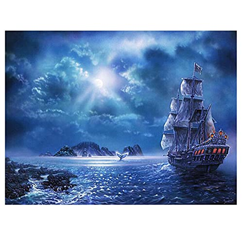 EWRH 5D DIY Diamond Painting Moon Night Sea Sailing Boat 40X30CM Adult Diamond Painting Kit Cross Stitch Kit Full Rhinestone Diamond Artist Home Decoration M5697