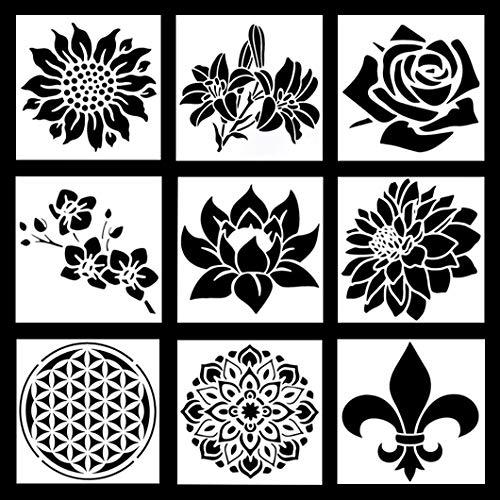 Rolin Roly 9 Stück Schablonen Malen Mandala Schablonen Wiederverwendbar Zeichenschablonen Malschablonen aus Kunststoff Erwachsene Blumen DIY Craft Schablonen (Flowers)