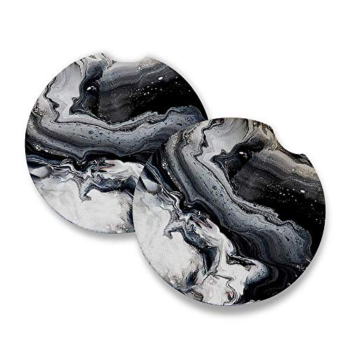 Black Marble | Car Coasters for drinks Set of 2 | Perfect Car Accessories with absorbent coasters. Car Coaster measures 2.56 inches with rubber backing.