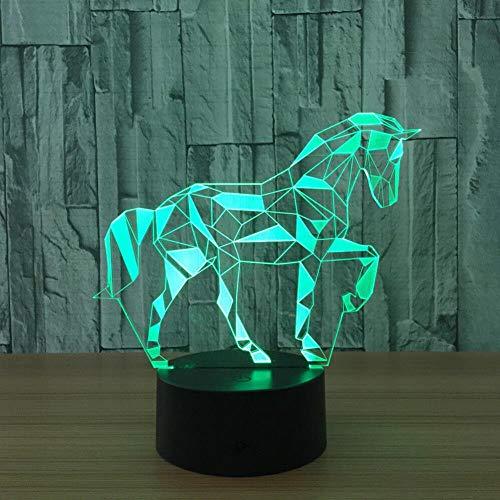 Lámpara de caballo 3D, luz nocturna LED visual, lámpara de estado de ánimo, para regalos de cumpleaños, juguetes para niños luces nocturnas