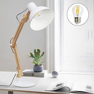 Depuley Klassisk skrivbordslampa varm vit LED läslampa i klassiskt trä, E27 glödlampa, vintage bordslampa justerbar arbets...
