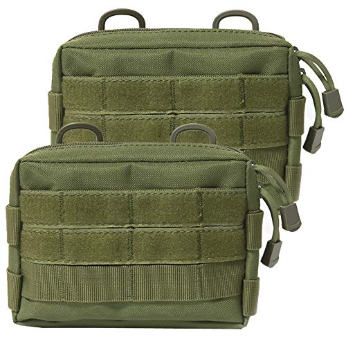 Novemkada MOLLE Pouches - 2 Pack Tactical Compact Water-Resistant Utility Gadget Gear EDC Pouch(Pack of 2 Green)