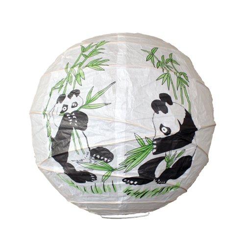Lighting Web Lanterne en Papier à cerclage irrégulier Motif Panda Bambou 35,6 cm