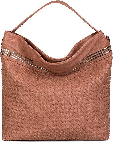 styleBREAKER Hobo Bag Handtasche mit Flecht-Optik und Nieten, Shopper, Schultertasche, Tasche, Damen 02012219, Farbe:Rose