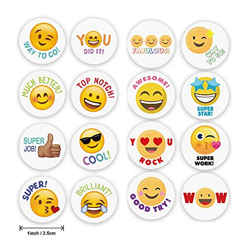 VCOSTORE 1000 Pcs Funny Emoji Reward Stickers for Kids, Motivational Stickers Variety Praisewords Teacher Stickers for Classroom,1' Diameter (2 Rolls)