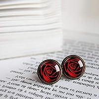 赤いバラのイヤリング、赤いバラのイヤリング、ピンクのイヤリング、ピンクのイヤリング、ママのイヤリング、ママの贈り物、赤い花、ロマン