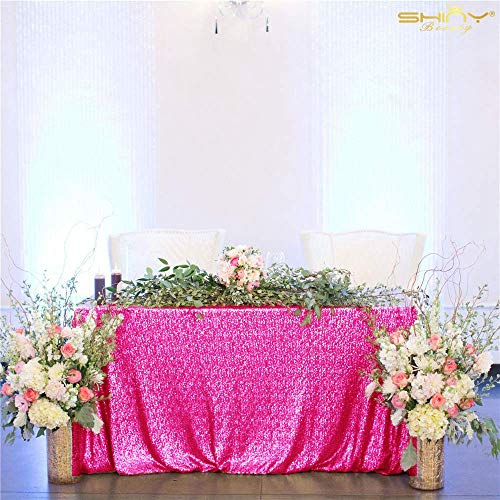 ShinyBeauty 60inx102in Sequin Tablecloth for Wedding/Party-Fuchsia