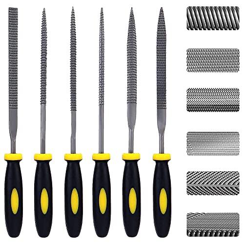 Set di 6 lime per aghi, mini kit in acciaio al carbonio con maniglia, tra cui piano / mezzo rotondo / quadrato / rotondo / triangolo, adatto per metallo, legno, vetro, plastica (piccolo)