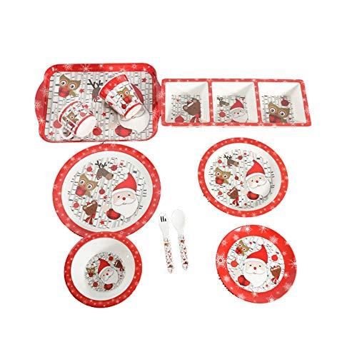 Fengbingl-hm Kinderteller Kids All In One Teller Tablett Set mit Tasse, Schüssel, Löffel und Geschirr Besteckset (Farbe : Mehrfarbig, Größe : Free Size)