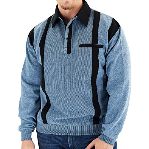 Classics by Palmland Two Tone Banded Bottom Shirt BLF184 Blue -Big and Tall (XLT, Blue)