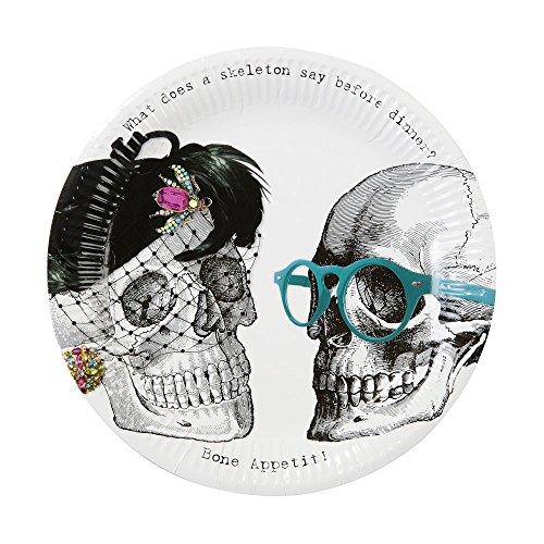 Talking Tables SKEL-Plate Skeleton Crew Assiette (23cm Diameter) 8Pk, Carton Papier, Multicolore, 22,5 x 0,23 x 22,5 cm