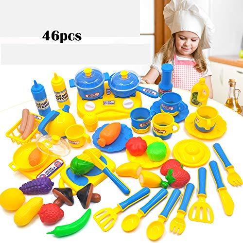 PUDDINGT® Teekanne Für Kinder und Lebensmittel-Spielset Teespiel-Set Pretend Rollenspiel-Lebensmittel und Küchenzubehör,Blue