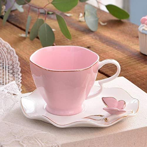 PPuujia Copa de vino Exquisita mariposa con tapa de hueso de China, taza de café, platillo, taza de café, taza de té de cerámica de porcelana europea (color de mariposa)