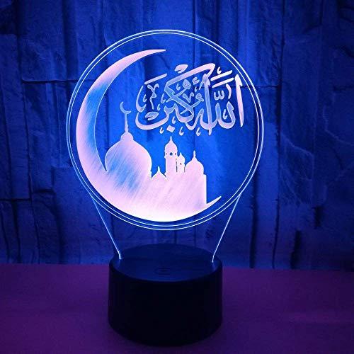 7 Colores Cambiantes Lampara Islámica Muhammad 3D Nightlight Acrílico Led Usb Lámpara De Mesa Niños Cabecera Iluminación Para Dormir Decoración Del Hogar