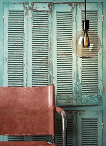 *NEWROOM Holztapete Tapete Grün Fenster Holz Landhaus Vliestapete Vlies Holztapete Holzwand Naturholz Holzpeneele Modern inkl. Tapezier Ratgeber*