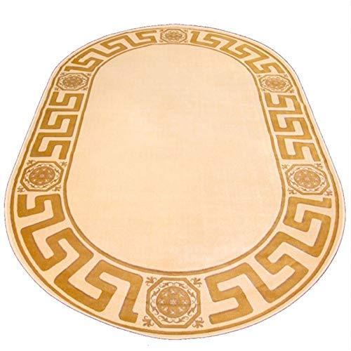 Belle Arti Premium Mäander Teppich Oval 152 x 230cm aus 100% Viskose im Meander Medusa Design Carpet versac in Beige
