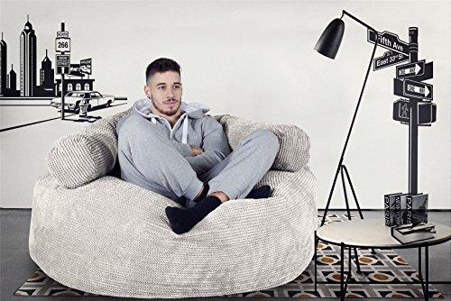 Lounge Pug®, 'Mammoth' Sofa Sitzsack XXL, Riesen Sessle, Pom-Pom Creme - 2