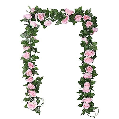 TSHAOUN 2 Pezzi Ghirlanda di Fiori Rosa Artificiali con Foglie Verdi, Seta Fiori Finta Piante Sospese per Arco Matrimoni Feste Hotel Ufficio Giardino Casa Muri Decorazione 2 x 2.3 M (Rosa)