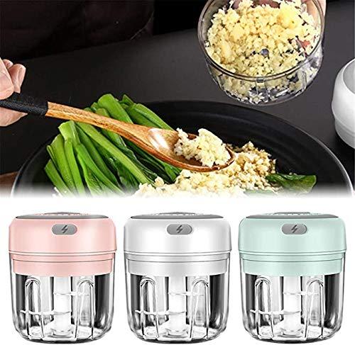 Electric Mini Garlic Chopper Meat Grinder Crusher for Nut Fruit Vegetable Food - USB-Aufladung Tragbarer Knoblauch-Chopper Multifunktions-Küchenmaschine, Babynahrungshersteller-250ML (GRÜN)