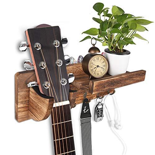 HALOVIE Soporte de Guitarra Soporte de Montaje en Pared para Guitarra Colgador de Guitarra Eléctrica de Madera Accesorios Acústicos Eléctricos