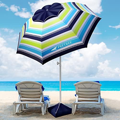 8FT Large Beach Umbrella, FRETREE Portable Outdoor Umbrella...