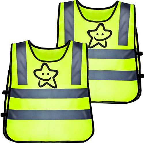 2 STK Reflektorweste Kinder Sicherheitsweste Fahrrad Warnweste Running Leicht Elastisch Laufweste Reflektierende Weste zur Schule Gehen und Abspielen Jungs Mädchen