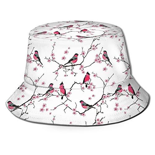 DOWNN Sombrero de pescador 3D Bullfinches On The Cherry Branch plegable sombrero de verano sombrero de sol para hombres y mujeres negro