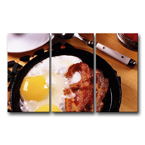 So Crazy Art 3 Piece Wall Art Painting Breakfast Fried Eggs Bacon Yolks Prints On Canvas The Picture Food Pictures Oil for Home Modern Decoration Print Decor