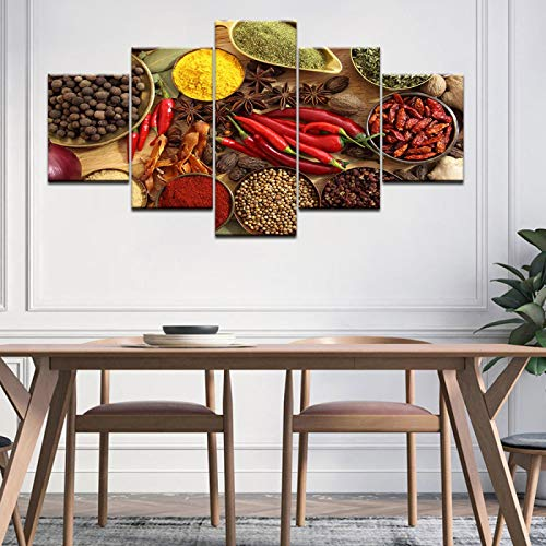 Modern 5 Panels Artwork Giclee Canvas Prints Restaurant Kitchen Spoon Spices Pictures Paintings On Canvas Wall Art For Living Room Bedroom Home Decorations Hall Art 20X40in unframed