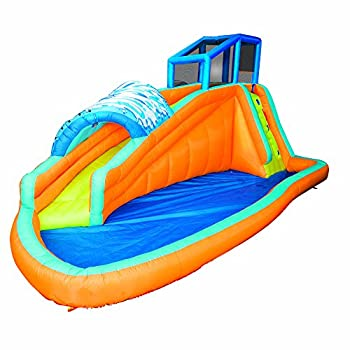 Banzai Surf Rider Kids Inflatable Outdoor Backyard Aqua Lagoon Water Slide Park with Splash Pool