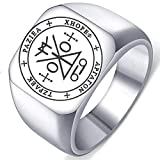 Laser Engraved Sigil of Archangel Raziel Stainless Steel Protection Mens Womens Amulet Ring