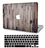 LuvCase2in1Laptop Case Compatible withMacBookPro 13' (2016-2020) +/- Touch Bar A2159/A1989/A1706/A1708 RubberizedPlasticHardShell Cover &KeyboardCover(Wooden)