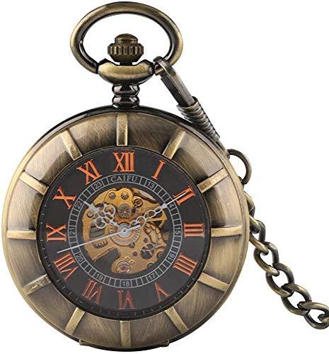 YYhkeby Reloj de Bolsillo de Bolsillo Reloj de Bolsillo Reloj de Bolsillo de antigüedad Transparente Viento de Mano con Cadena Gruesa Alquimista de Metal Completo Jialele (Color : Style 1)