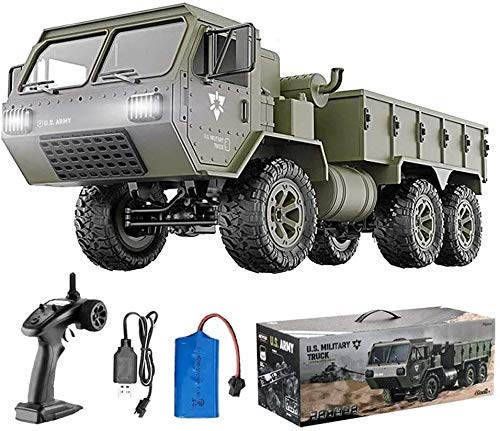 Dpliu Remote Control car RC Military Truck 1/12 Scale 6WD 2.4Ghz Remote Control Car,All Terrain Heavy Duty Off-Road Full Proportion Army Truck RTR Toy,for Kids Over 8-14 Years Old & Adults